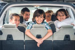 cute family in car