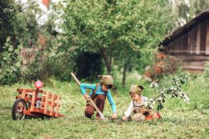 Children in garden.