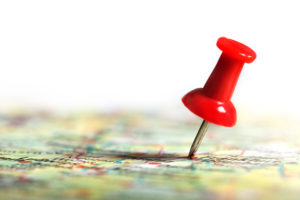 thumbtack on map