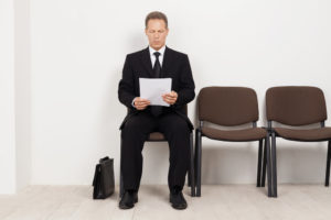 Man waiting for job interview